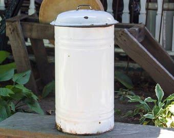Antique Trash Can, Enamelware Trashcan, Farm house, Rustic Waste Basket, Primitive Porcelain, Shabby Chic White Enamel Ware Garbage Can