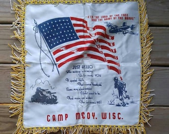 Vintage WWII Flocked Satin Camp McCoy, Wisconsin Army Souvenir Pillowcase
