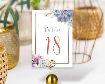 Succulent Wedding Table Numbers / Greenery and Rose Gold Geometric / Cactus and Copper / PRINTED Table Numbers, Double-Sided