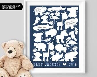 Safari Baby Shower Guest Book Alternative / Navy Zoo Animal Guest Book, Elephant Baby Shower ▷Canvas, Board, Paper {or} Printable
