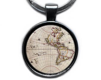 Ancient Map US North America Keychain Keyring