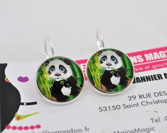 earring cabochon 2cm panda and bamboo theme