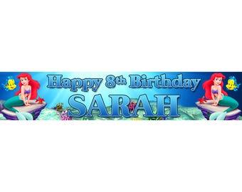 2 x Little Mermaid Personalised Birthday Banner, custom, party,