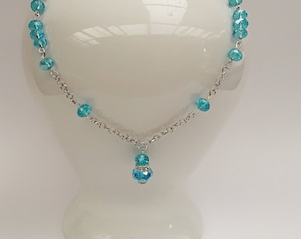 Beaded Blue Choker Necklace, Blue Jewelry,  Mother of the Bride, Bridesmaid Necklace, Australian Made, Bridesmaid Gift, Gift for her