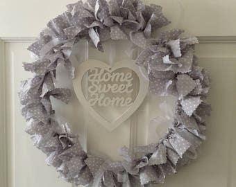 "Fabric Wreath, 14"" Wreath, Wreath, Polka Dot Fabric, Grey Polka Dot, Door Decor, Home Decor, Floral Fabric, Fabric Tied Wreath, Grey Fabric"