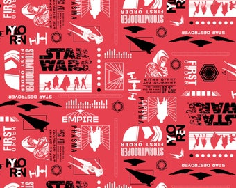 Star Wars The Last Jedi by Camelot - Empire Silhouettes Ruby - Cotton Woven Fabric