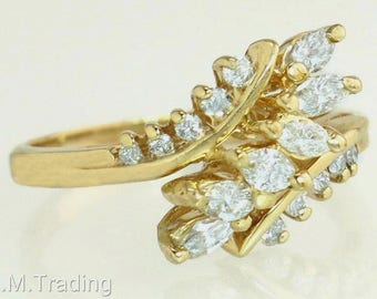 Designer Estate 14K Yellow Gold .50ct Genuine Diamond Ring 3.7g