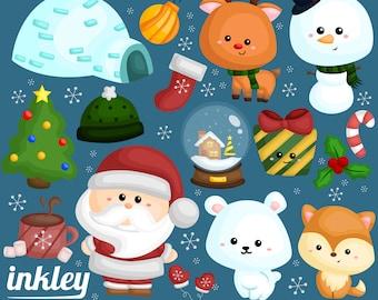 50%OFF!! Snowy Christmas Clipart - Christmas Clipart, Fun Clipart, Clipart Set, Adorable Digital Clip Art