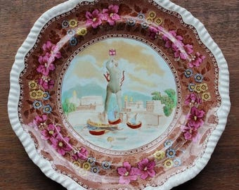Vintage W.T. Copeland and Sons The Colossus of Rhodes Porcelain Plate Rare