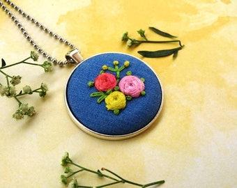 Flower denim necklace. Denim necklace. Hand embroidered denim necklace. Embroidered rose necklace. Embroidered denim. Embroidered jewelry.