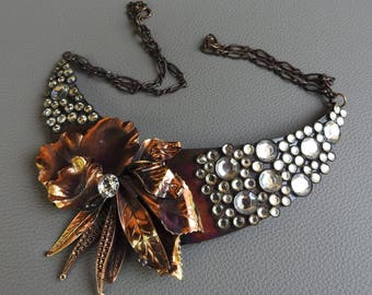 Vintage Copper Rhinestone Flower Necklace