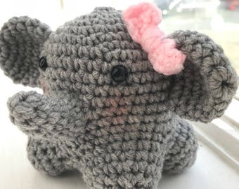 Handmade Crocheted Elephant w/ Bow