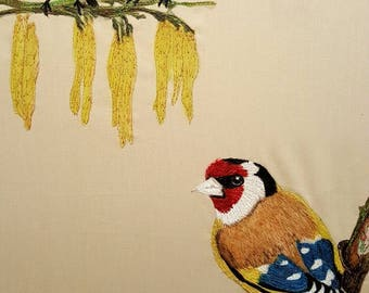 Original. Embroidered Textile Art. GOLDFINCHES