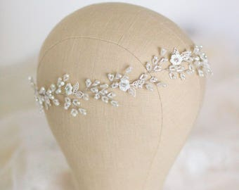 Wedding Headband, Bridal Headband, Pearl Headband, Wedding Hair Vine, Bridal Wreath, Floral Tiara, Diadem, Wedding Headpiece, Hair Accessory