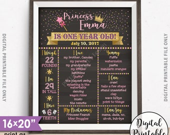 "First Birthday Princess Poster, Princess Birthday Gold Glitter Pink Birthday Stats 1st B-day Milestones, 16x20"" Chalkboard Style Printable"