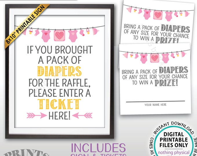 "Diaper Raffle Tickets & Sign, Enter a Raffle Ticket Here, Baby Shower Raffle Tickets, Instant Download PRINTABLE Pink 8x10"" Sign and Tickets"