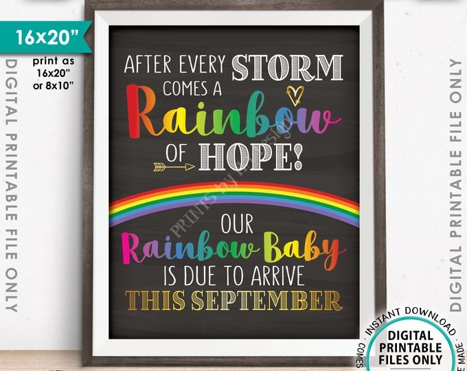 "Rainbow Baby Pregnancy Announcement, Pregnancy Reveal After Loss, Due in SEPTEMBER Dated Chalkboard Style PRINTABLE 8x10/16x20"" Sign <ID>"