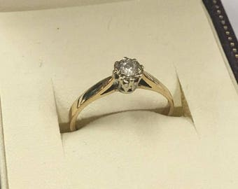 9ct Yellow Gold Diamond Solitaire Ring Size P 1/2