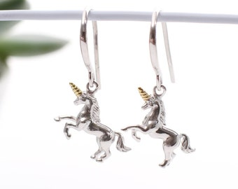 18ct Gold And Sterling Silver Unicorn Earrings (HBE102)