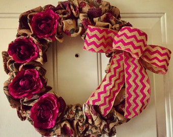 Burgundy burlap wreath