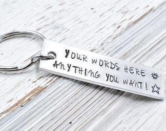 Personalized keychain, Hand Stamped Key Chain.
