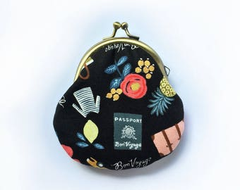 Coin Pouch • Metal Frame Purse, Travel, Holidays, Coin Purse, Black, Small Gifts for Her, Padded Jewelry Pouch