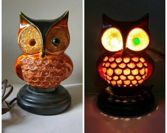 Mid century ceramic n gravel owl lamp / unique night light / ceramics / 1960/ accent lighting / kitsch / kitschy / working / light / 1970 /