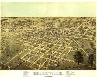 Belleville, Illinois Panoramic Map from 1867. These maps are available in 11 X 14, 11 X 17, 12 X 18inches. Remember these are Illustrations.