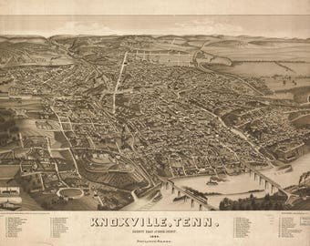 Knoxville, TN Panoramic map from 1886.This print is a wonderful wall decoration for Den, Office, Man Cave or any wall