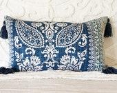 blue lumbar pillow cover, blue Hamptons style pillow, navy cushion, long blue cushion, coastal blues decor, botanical pillow, blue and white