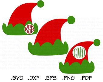 Santa Hat SVG, Santa Hat Clipart, Christmas Clipart, Santa Hat SVG File, Silhouette Cameo, Cricut Maker, Christmas Monogram SVG - CA483