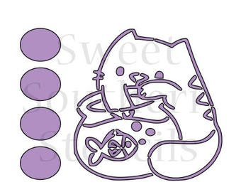 Cat with Fish Bowl PYO Cookie Stencil