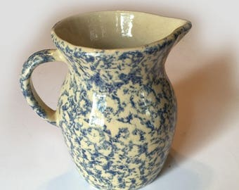 1 Quart Robinson Ransbottom #400 Blue Spongeware Pitcher From Roseville Ohio Country Kitchen