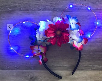 READY to SHIP REVERSIBLE* Patriotic July 4 Memorial Day Minnie Park Disney Ears Floral wire Red White Blue  American Flag