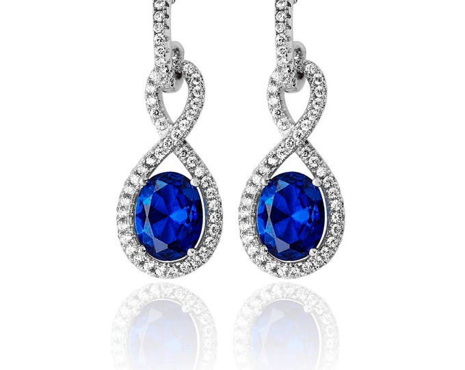 INFINITY Shape CZ & SAPPHIRE Drops  Sterling Silver 925  Fancy Earring Rhodium Plated- Ideal Gift For Mom Her