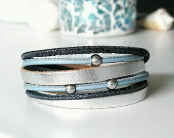New: leather strap, silver, blue, bracelet, Bead Bracelet, genuine leather bracelet, leather wrap bracelet, bracelet double wrapped, stainless steel