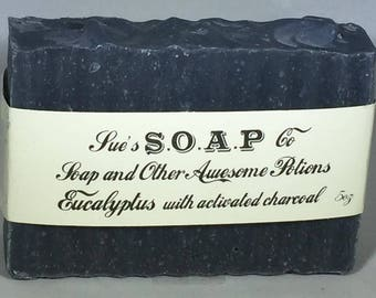 Soap, cold process, Charcoal, essential oil soap with eucalyptus, lavender, rosemary and peppermint and tea tree or Unscented, Vegan soap, A