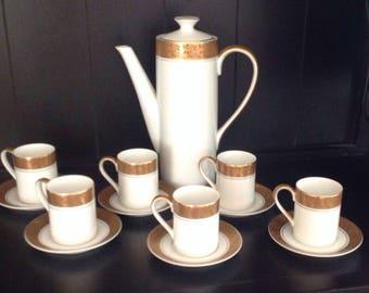 Mid Century Hankyu Mokar Espresso Coffee Set with Six Cups and Saucers