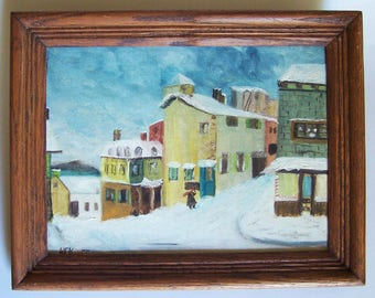Quebec in Winter - Painting by H.F. Kneff of Royal Oak, MI - Davenport's Listed 20th Century Landscape Artist