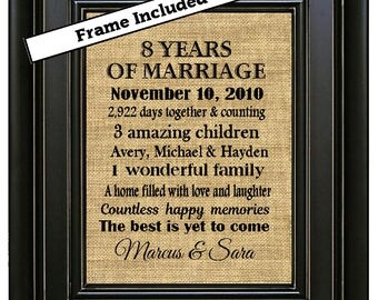 FRAMED 8th Wedding Anniversary Gift Gifts 8 Years Of Marriage