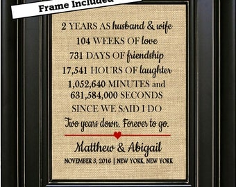 FRAMED Personalized 2nd Wedding Anniversary Print /2nd Anniversary Gift/2 year Anniversary Gift/Gift for her/Gift for him/Gifts for men