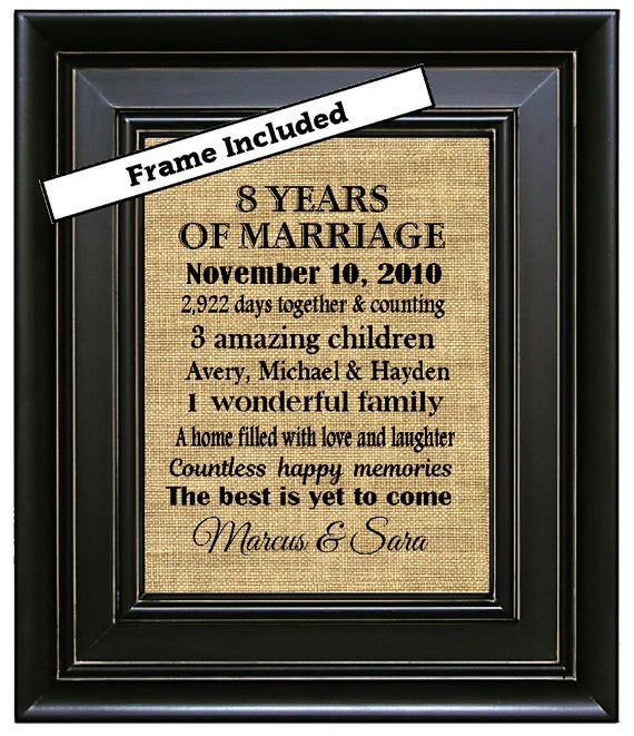 FRAMED 8th Wedding Anniversary Gift Gifts 8