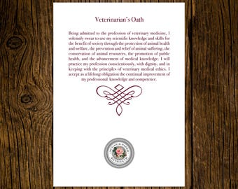 Texas A&M University DVM Graduation Announcements Veterinarian's Oath Printed On Back