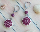 Marsala earrings, Sensitive skin earrings, Purple earrings stainless steel earrings,Hypoallergenic earrings Hand Embroidered earrings