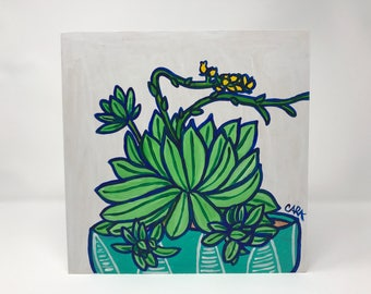 Green Succulent with Yellow Flying Flowers Painting on a Wood Panel