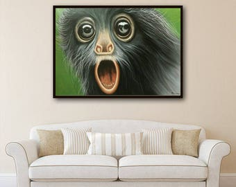 Monkey painting, oil painting of monkey , Monkey painting by Kampon
