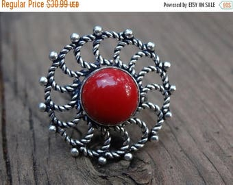 Sale Sterling silver Natural Red Coral Ring Size 6.5 - Natural Stone Ring - ring size 6 7 - Gemstone Ring - Red Coral ring - Boho Chic Ring
