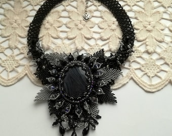 Agate Beadwork Necklace, Seed Bead Necklace, Gemstone necklace, Black and Grey necklace, crystals necklace.