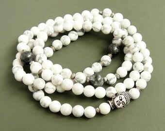 108 Mala necklace 108 mala Howlite Bracelet Yoga Jewelry Buddha Wrap Bracelet Meditation Buddhist Bracelet Healing Jewelry Energy bracelet