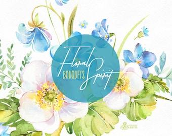 Floral Spirit. Bouquets. Watercolor floral clipart, violet, spring, viola, pansy, forget-me-not, fern, wedding, snowdrop, flourish, blue